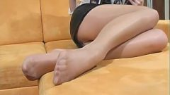 Shiny Pantyhose Tease And Sweet Feet Nylon !!!!!