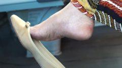 Candid Mature Dangling Heel Feet