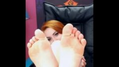 Nice Chick Opens Mouth And Flashes Feet
