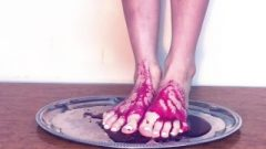 Titillating Nasty Young Teen Jizz On Her Titillating Feet With Pretty Pomegranate Syrup