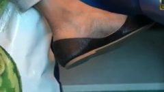 Candid Milf Feet Shoeplay Flip-flops And Indian Ballet-flat Dirty Soles
