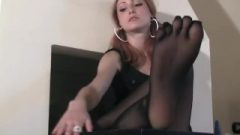 Ginger School Girl Teases With Her Five Toes Pantyhose