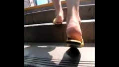 Candid Feet On Stairs
