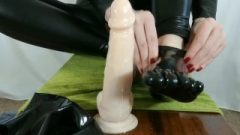 POV Intense Footjob In Catsuit, W/ Oiled Bare Feet, Then Latex Toe Socks