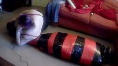 Mummified Tight In Pallet Wrap Escape Challenge 3 With Doxy Feet Torture