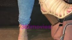 Kissable Leather Laced Heals Pink Toes