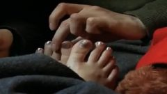 Attractive Petite Playful Toes Of Jessica Alba In The Video 'paranoid'
