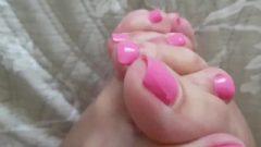 Interlocking Toes Close Up Young Long Sensuous Legs Long Toe Fetish Pink Nails