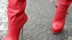 Slut In The Street And I Get Jizz On My Red High Heels Boots