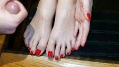 Big Cum Shot On Perfect Young Feet