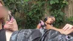 Scarlett & Obese Cousin Public Foot Smothering Wank & Blow-Job – Preview