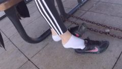 Making Her Frolic With Her Shoes And Socks In Publick