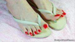 Long Crimson Toenails