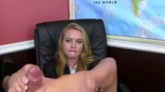 Arousing Golden-haired Chick Gives A Footjob Using Her Kissable French Pedicure Toes