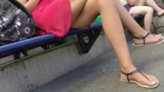 Voluptuous Cougar Legs Crossed Toes Amateur Voyeur Candid 13