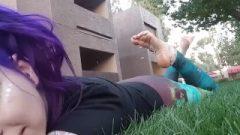 Purple Hair Goth Slut Feet Grease Rub